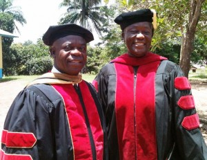 Dean Kulah (l) and former Dean Young of the Gbarnga School of Theology