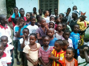 Partial view of the children at the orphanage