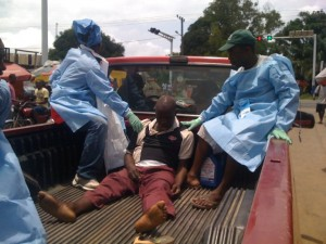 Rev Jarkloh as he was driven from one health center to another
