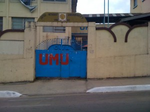 The gates of the United Methodist University, closed since August 2014 because of the Ebola virus in Liberia.