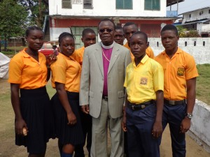 Bishop Innis visiting with students at Siaffa-keh UMS in Grand Cape Mount County
