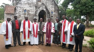 Rev. Aaron Yankee (3rd from right) before the induction ceremony in Ganta City, Nimba County, RL