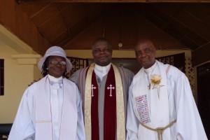 R-L - Rev Nicol Boyce, Rev. Christopher Marshall, & Rev. Massa Mussah at the E. J. Goodridge UMC.
