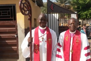 Bishops John Innis (r) of the UMC Liberia Episcopal Area and John Yambasu (r) of UMC Sierra Leone Episcopal Area at the 136th Annual Session of SLAC 2016