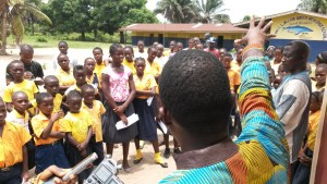 UMC Liberia Human Rights Director, Jefferson Knight addressing students and community leaders.