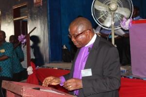 Bishop Samuel J. Quire, Jr delivering his 1st Episcopal Address to the conference