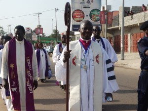 Bishop John Yambasu leading a march past of United methodist pastors, laity and schools on Wenesday along the streets of Makeni in northern Sierra Leone