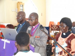 Resident Bishop John K. Yambasu presenting his Episcopal address at the 137th Session of the Sierra Leone Annual Conference Thursday March 9. JPG