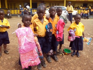 Students of the Siaffa-keh United Methodist School with their Christmas gifts
