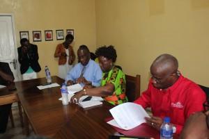 UMU & MWETANA signed MOU to launch Online Registration for students in Monrovia. (r-l) Vivien C. Jones, MWETANA, Rev. Dr. Yatta R. Young, Dean BIST, Dr. Albert Coleman, VPAA